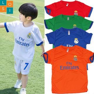 Combo 5 bộ đồ thể thao cho bé trai từ 12-30kg vải thun mè co giãn thoáng mát – in 2 mặt – LOSI Fly Emirates – 5 màu