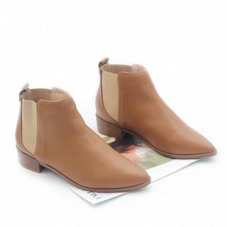 Giày Boot Thấp 3cm Cổ Ngắn Da Bò Thật Màu Nâu Pixie P293