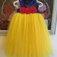 Freeship 99k TQ_Váy tutu hoa cuốn ruy băng kèm băng đô cho bé