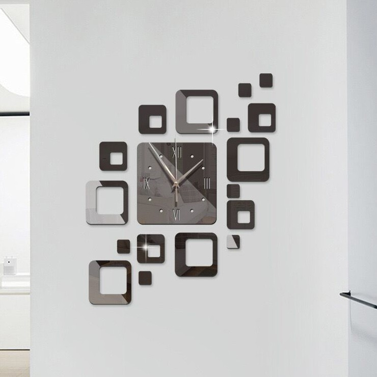 Miếng Dán Tường Hình Đồng Hồ Chất Liệu Acrylic Tráng Gương Sáng Tạo