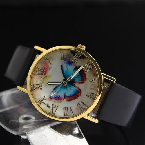 Đồng hồ dây giả da họa tiết hình bướm cổ điển cho nữ