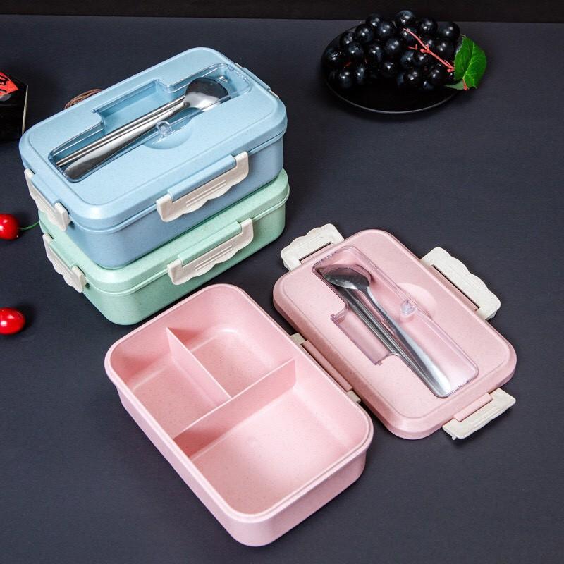 Hộp cơm lúa mạch kèm đũa thìa inox, hộp cơm văn phòng giữ nhiệt tiện lợi dễ dàng sử dụng