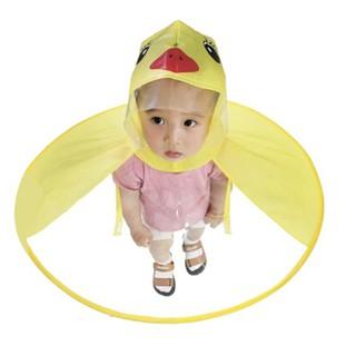 Foldable Cartoon Duck Kids Raincoat Umbrella UFO Shape Rain Hat Cape Striking