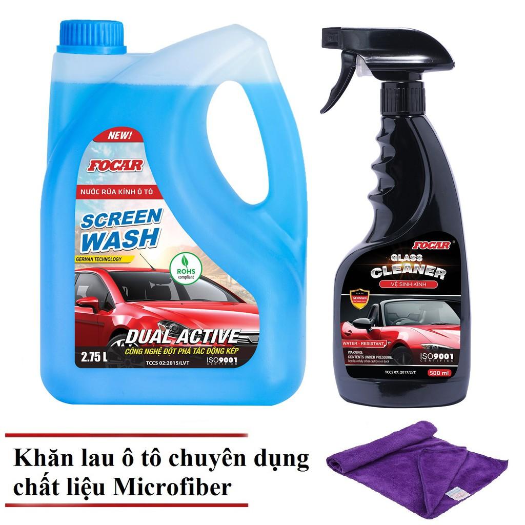 Bộ sản phẩm nước rửa kính ô tô Focar (Tặng khăn lau Microfiber cao cấp)
