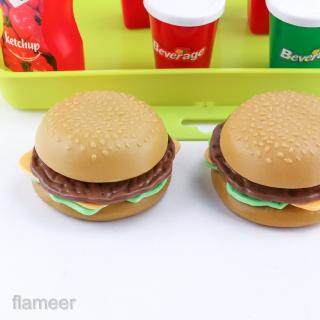 Simulation Fast Food French Fries Hamburger Drink 8 Pieces Set Kitchen Food Role Play Game Kids Early Learning Toy Play