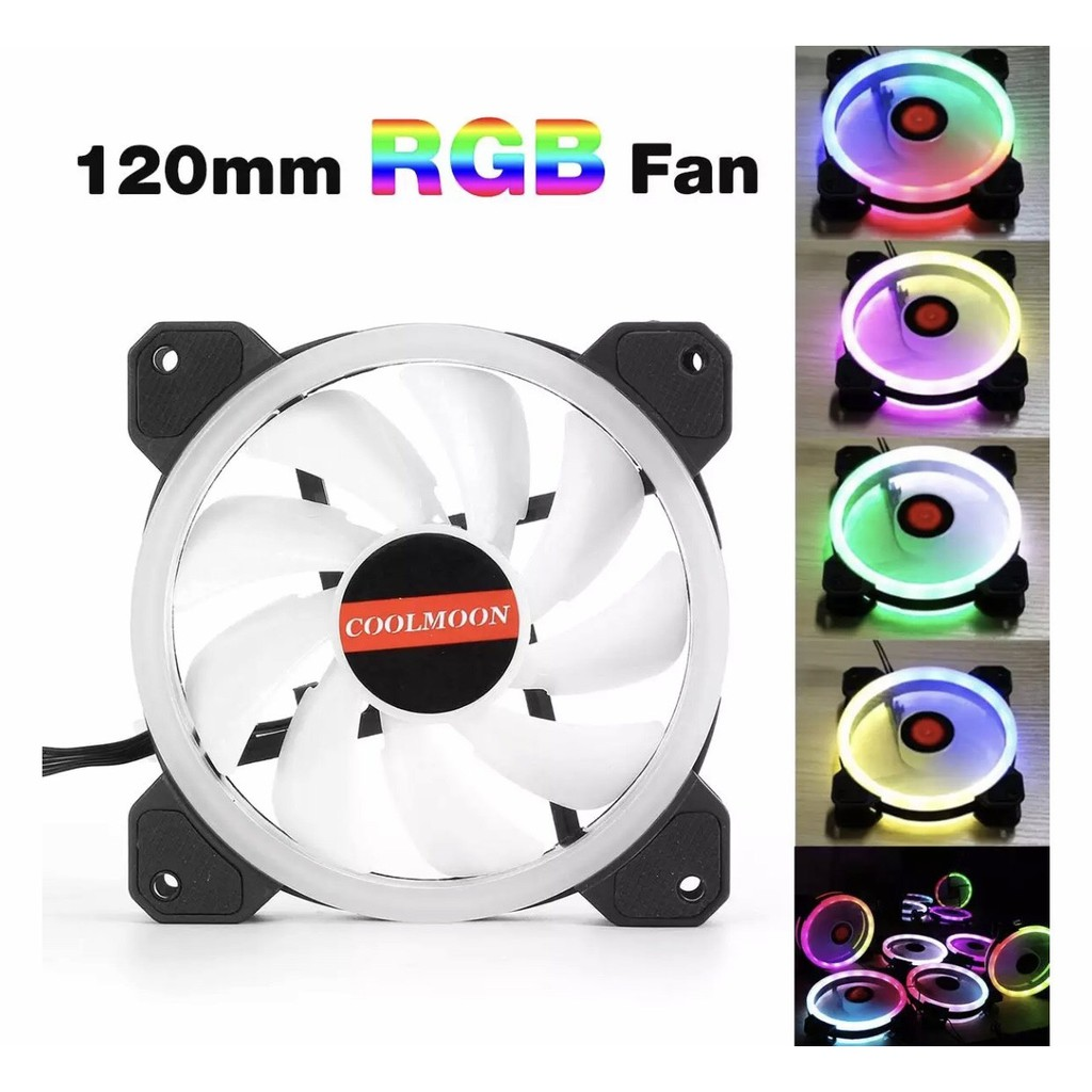 Bộ 5 Fan led tải nhiệt coolmoon RGB và dual ring cho máy tính tặng remot  điều khiền và hub cắm được 10 fan led