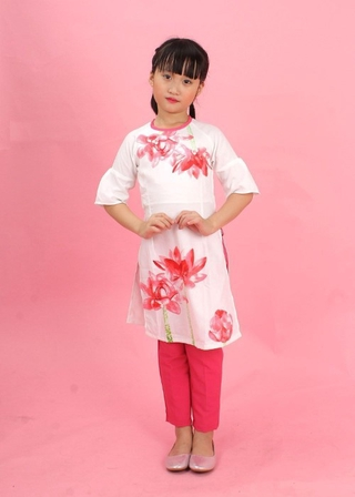 Áo dài sen hồng tay loe bé gái