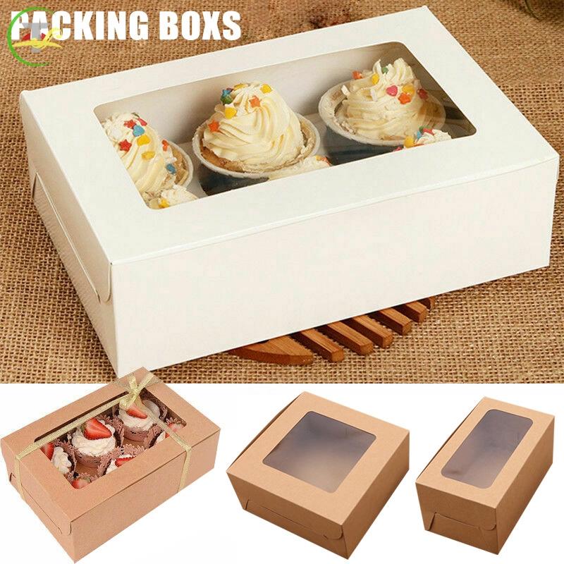 Set 10 Hộp Giấy Đựng Bánh Cupcake 2 / 4 / 6 Lỗ