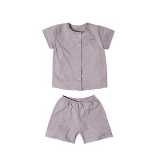 [Mã KIDMALL12 hoàn 15% xu đơn 150K] Set đồ bộ vải baa unisex cao cấp màu tím đốm-U-DB01N-001TI thumbnail