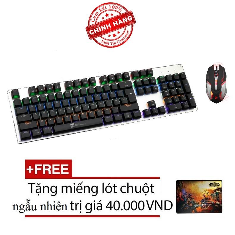 Bộ bàn phím cơ và chuột LED chơi Game R8 G100 - 1637 (Đen) + Tặng kèm lót chuột
