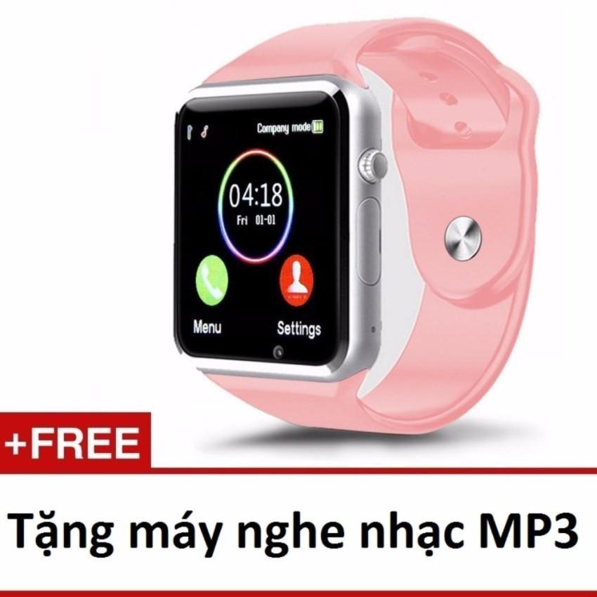 Đồng hồ đeo tay hỗ trợ sim A1 (hồng)+ Máy nghe nhạc mp3