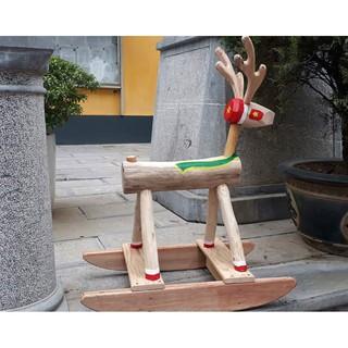 Tuần lộc bập bênh gỗ mộc giáng sinh quà Noel