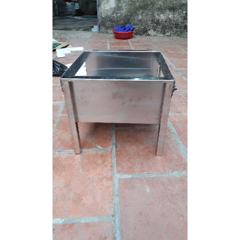 Bếp nướng inox than hoa mini máy nướng thịt chả mô tơ tụ động lò quay gà vịt 6 xiên( kèm 6 xiên đơn và 1 xiên gà inox)
