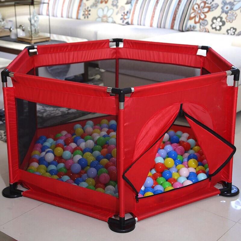 quây bóng khung inox hình lục giác và bóng cho bé (quây sẵn 10-15 bóng)
