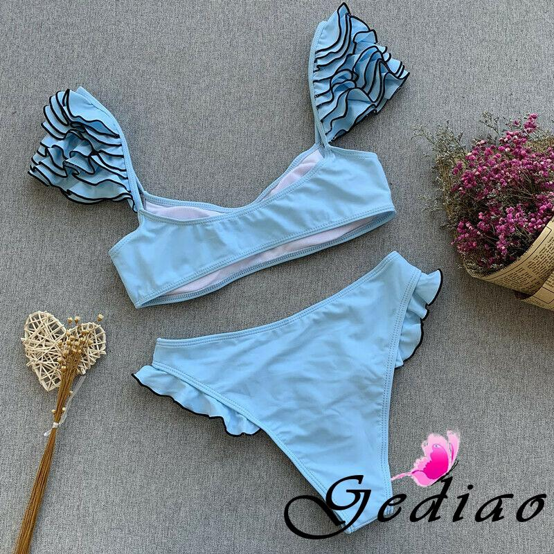 Ged♥Sexy Bikini Set Push Up Swimsuit Swimwear High Elasticity Push-up Lace Bra