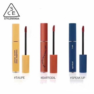 Giới hạn 3CE màu xanh vàng dạng tuýp màu đỏ son môi lên tiếng tupe daffodil retro 3 màu son nhung Limited 3CE blue yellow red tube lipstick speak up tupe daffodil retro 3 color velvet lip glaze