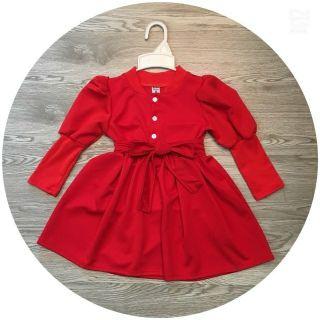 Váy đỏ thắt Nơ tay bo cho bé