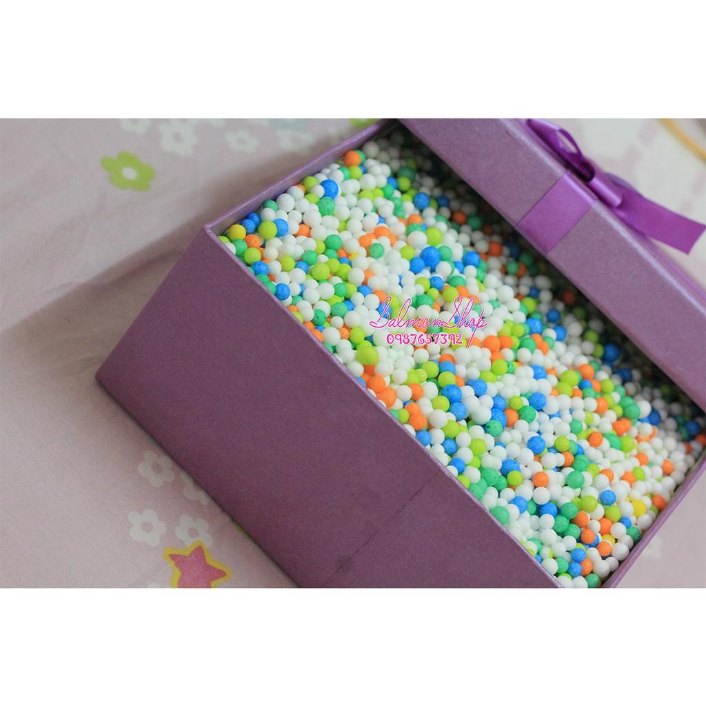 Combo Hộp quà + Hạt xốp quà tặng mix nhiều màu
