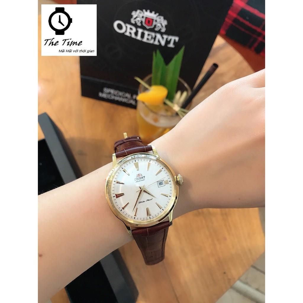 ( Sẵn 2 màu dây đen- nâu ) Đồng hồ nam Orient Bambino Gen 1 mặt trắng viền vàng hồng  case 40.5mm. 3atm