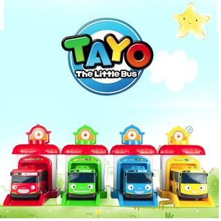Tayo xe buýt nhỏ chạy cót đồ chơi trẻ em bộ 4 xe và nhà đẩy