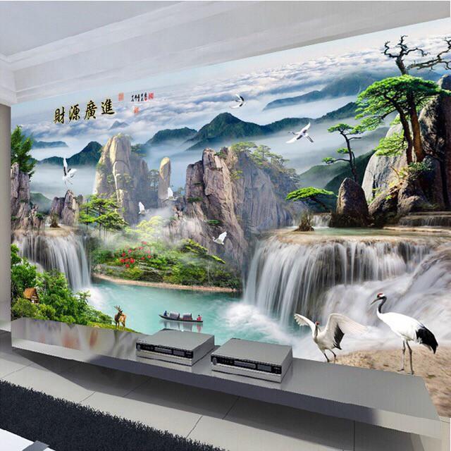 Tranh thêu phong cảnh lưu thuỷ sinh tài khổ lớn 244x149cm