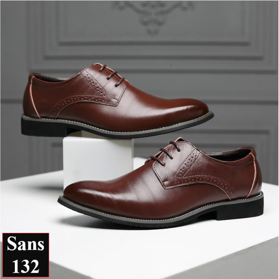 Giày Tây Nam Giày Buộc Dây Họa Tiết Trang Nhã Sans Shop Sans132