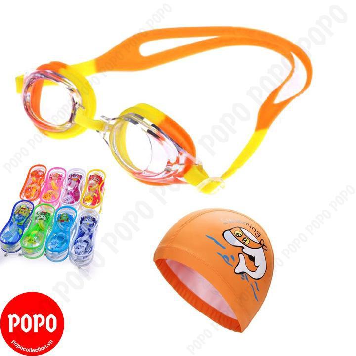 Kính bơi trẻ em Nhật Bản 830, Mũ bơi ngộ nghĩnh, 2 nút Bịt tai POPO Collection mắt kính chống tia UV