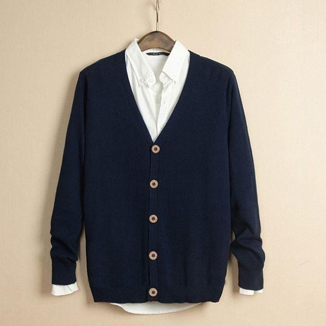 Áo khoác len nam mỏng dài tay đóng cúc thanh lịch B122