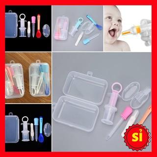 [Sỉ] Set 5 dụng cụ chăm sóc cho bé (dụng cụ uống thuốc, nhíp gắp rỉ mũi, thìa báo nóng, bàn chải nướu, ống bón sữa)