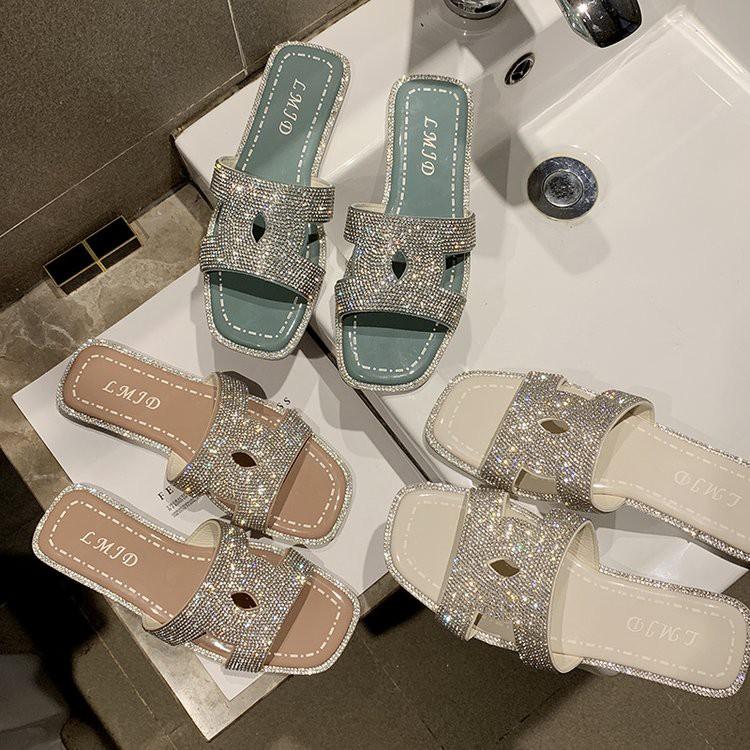 Slippers women wear fashion flip-flops beach shoes wild flat sandals rhinestone flat with sandals