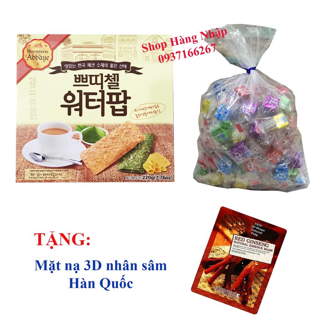 TẶNG Mặt nạ nhân sâm Hàn Quốc khi mua Combo Bánh yến mạch cuộn trà xanh phomai Hàn Quốc & Bịch 50v C