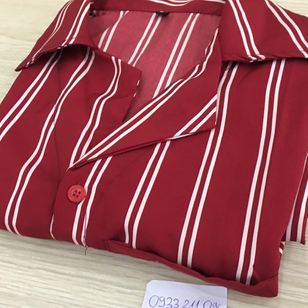 Áo sơ mi NGẮN TAY lụa sọc cổ vest nam nữ mỏng mịn (màu đỏ)