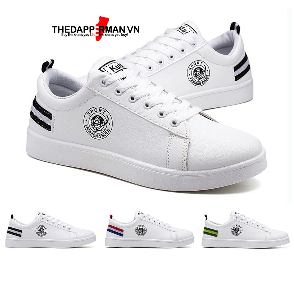 Giày nam thể thao sneaker THEDAPPERMAN TDM7635 chất liệu da, đế cao su nhiệt, siêu êm, phù hợp chạy bộ,màu trắng gót đen