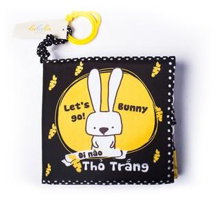 """Sách vải Mô Mô Home kích thích thị giác """" Đi nào thỏ trắng – Let's go Bunny"""""""