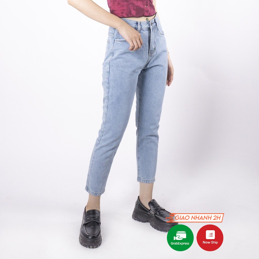 Quần jean nữ Ulzzang GENZ mẫu lưng cao baggy trơn thời trang ZWJ027