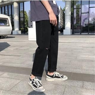 Quan jean, jeans,quần bò đen, baggy, nam,nữ, rách Gấu + Rách gối RĐ-01 hottren 2021