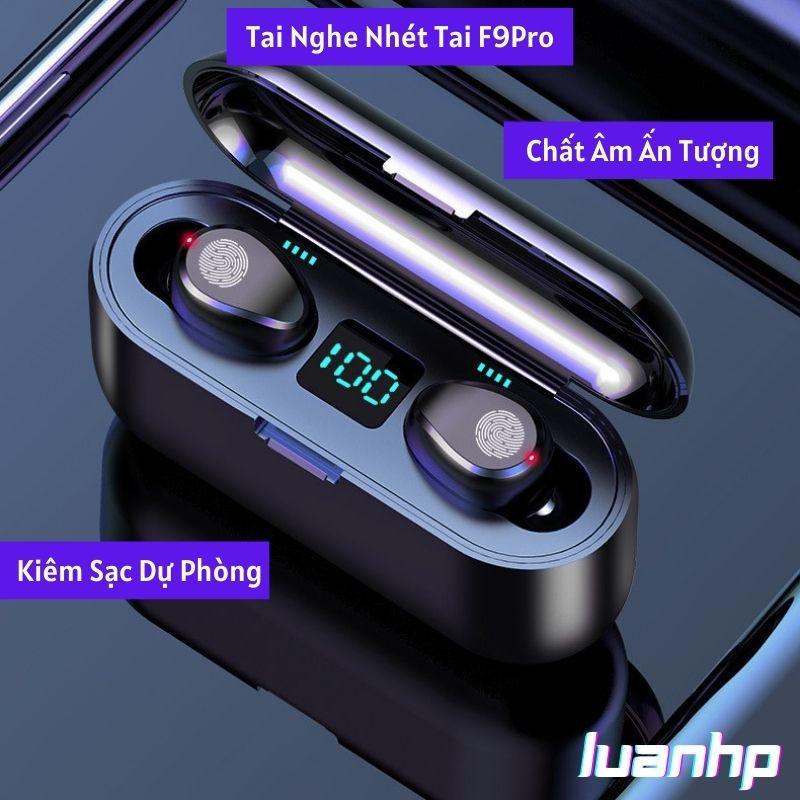 Tai nghe bluetooth AMOI F9 TWS 5.0 bản QUỐC TẾ không dây cảm ứng chống ồn chống nước IPX5, tích hợp sạc dự phòng 2500mAh