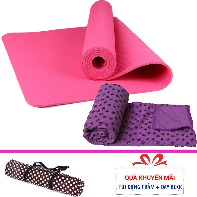 Combo thảm tập yoga TPE 1 lớp 8mm + Khăn trải thảm yoga (Tặng túi đựng thảm)