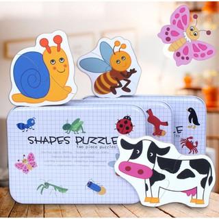 [Nhập TOYMAY giảm 10K Xu]Ghép hình 2 mảnh hộp sắt – Shapes Puzzle| Đồ chơi thông minh