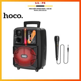 Loa bluetooth kẹo kéo mini V5.0 karaoke Hoco BS37 đèn led + Kèm 1 micro có dây XỊN BỀN ĐẸP DU LỊCH CHẾ ĐỘ FM USB AUX TWS