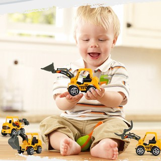 6 Styles Mini Diecast Plastic Vehicle Engineering Cars Excavator Model Toys For Children