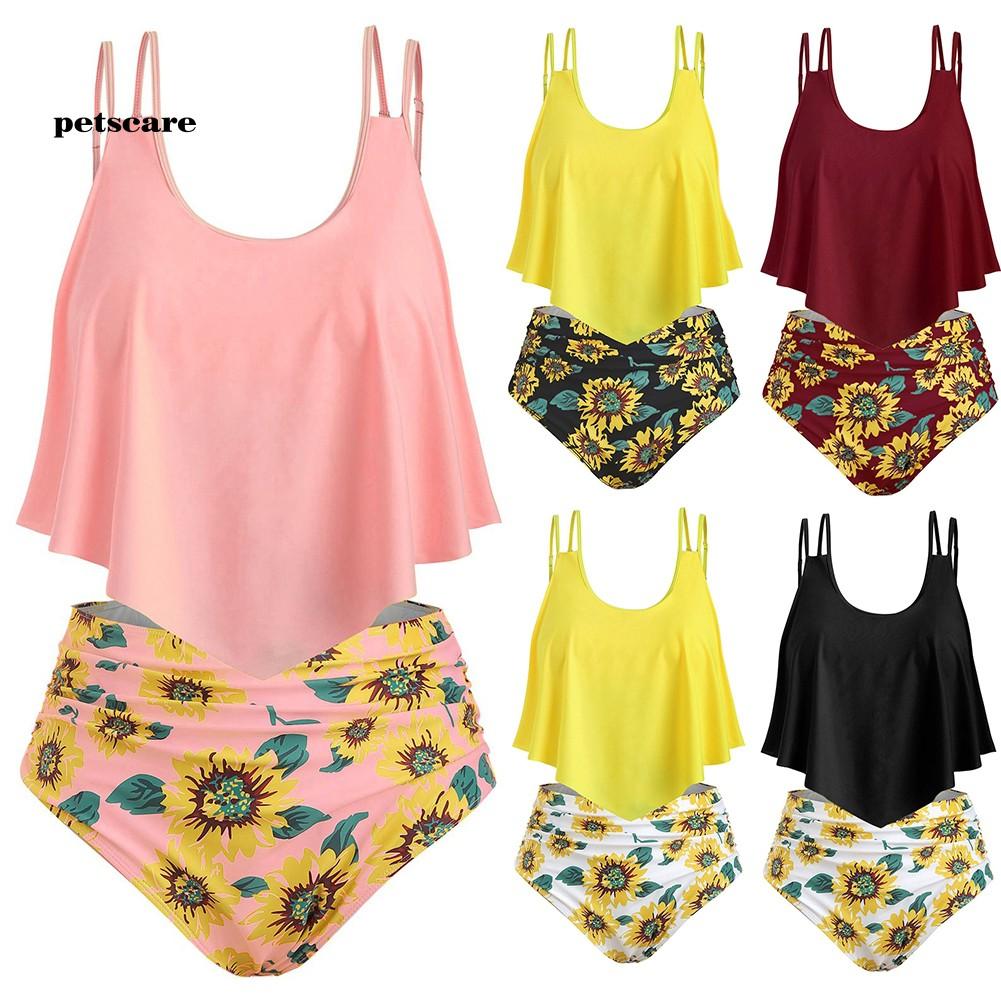 Ptcr_Summer Women Two-piece Sunflower Print Ruched High Waist Tankini SetSwimwear