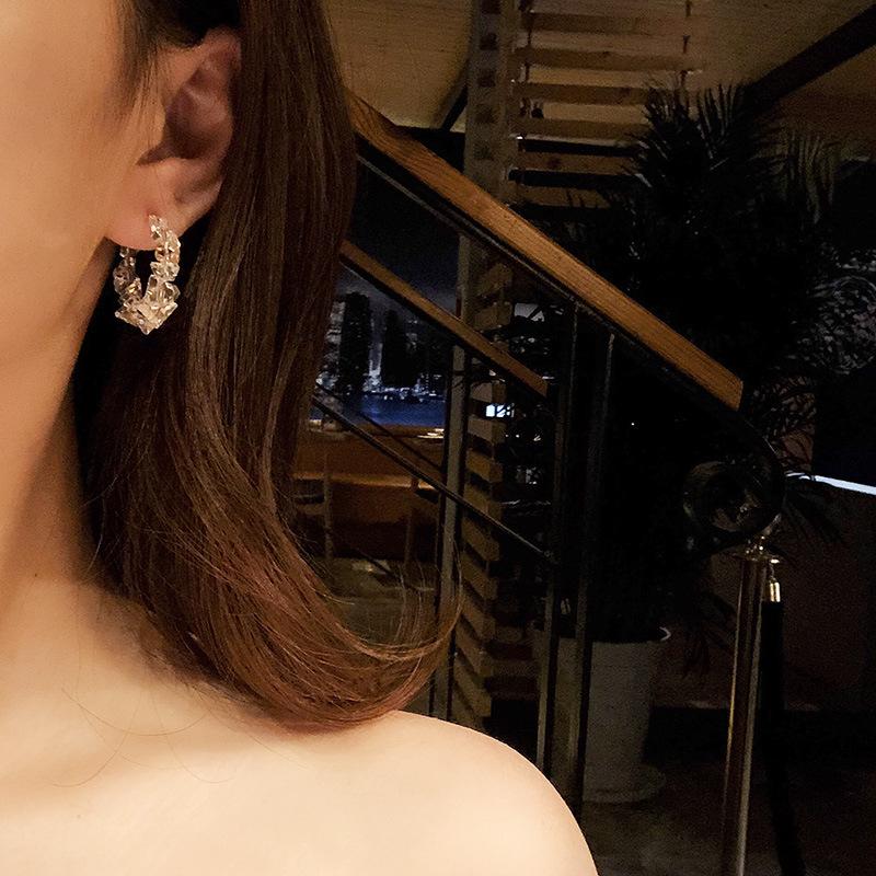 Khuyên tai kim loại hình tròn phối đá lấp lánh xinh xắn dành cho bạn gái