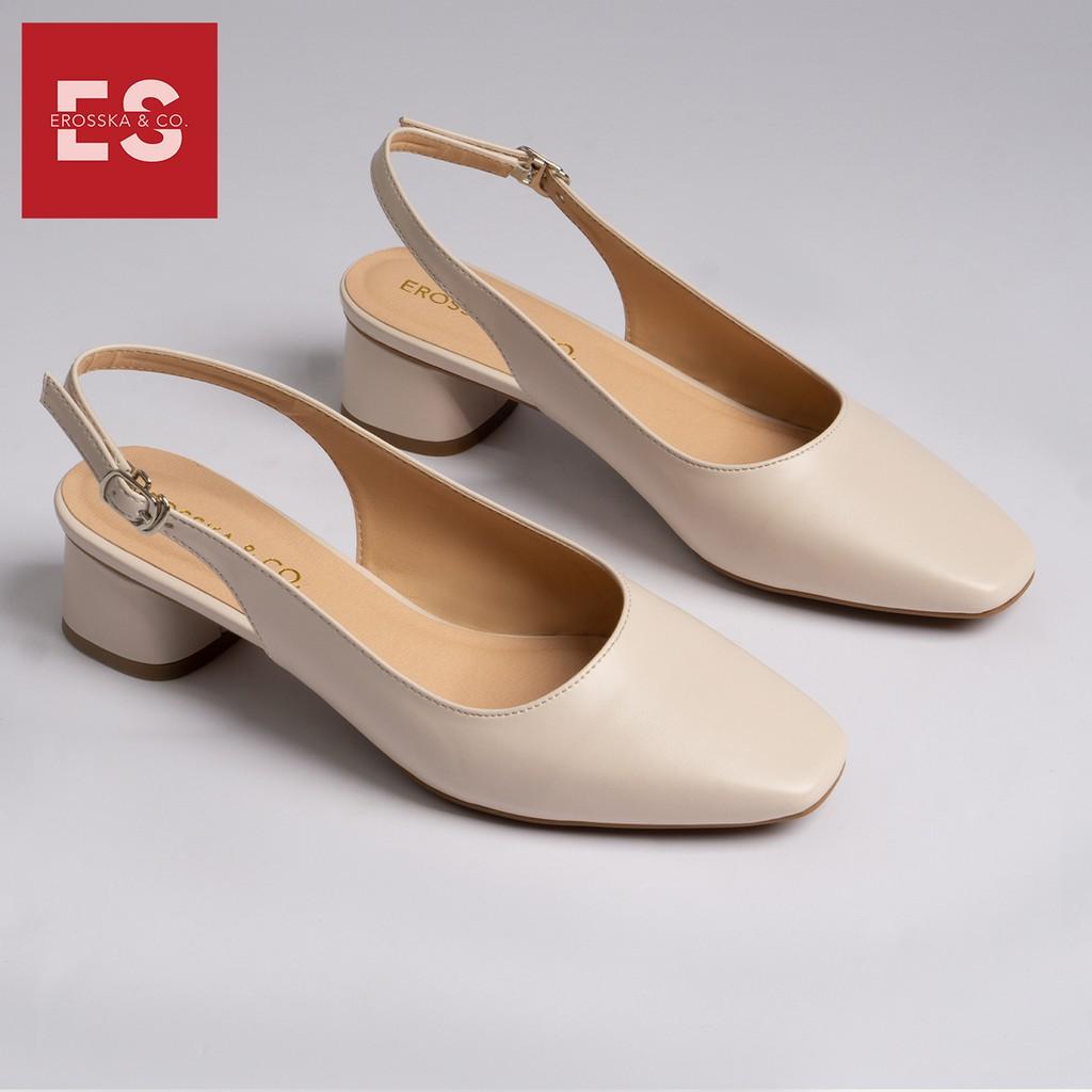 Giày cao gót slingback Erosska mũi vuông kiểu dáng basic gót vuông vững chắc màu kem _ EL013