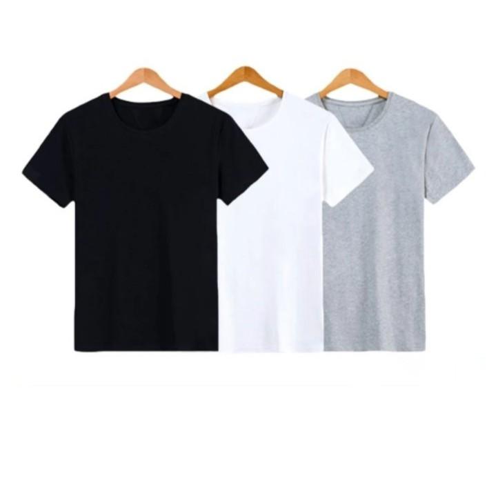 Hình ảnh Combo 3 áo thun trơn nam thời trang Everest màu trắng đen xám-0