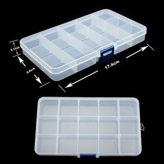 1PC Plastic Case 15 Slots Adjustable Storage Box Home Organizer for Earrings outwalk