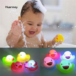 ★Hu 1Pc Newborn Baby Bath Time Toy Changing Color Duck Flashing LED Lamp Light