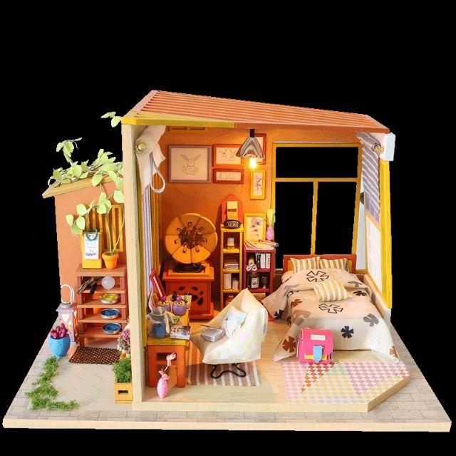 Mô hình nhà gỗ búp bê Dollhouse DIY - Kèm mica - S003 Together