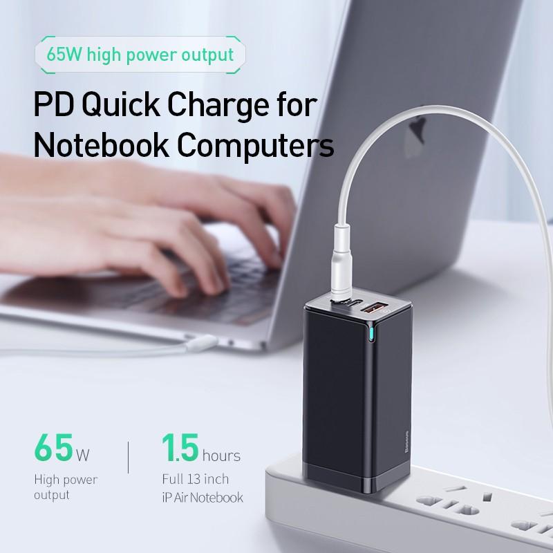 Củ sạc nhanh Baseus GaN 65W / 45W / Gan2 pro USB Quick Charge 4.0 3.0  PD cho Smartphone/ Tablet/ Ipad/ Macbook/ Laptop