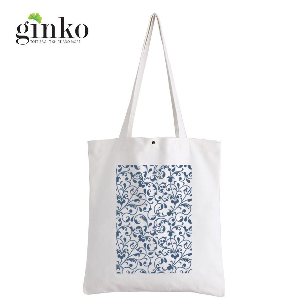 Túi Vải Tote GINKO Kiểu Basic In Hình Blue Floral G14